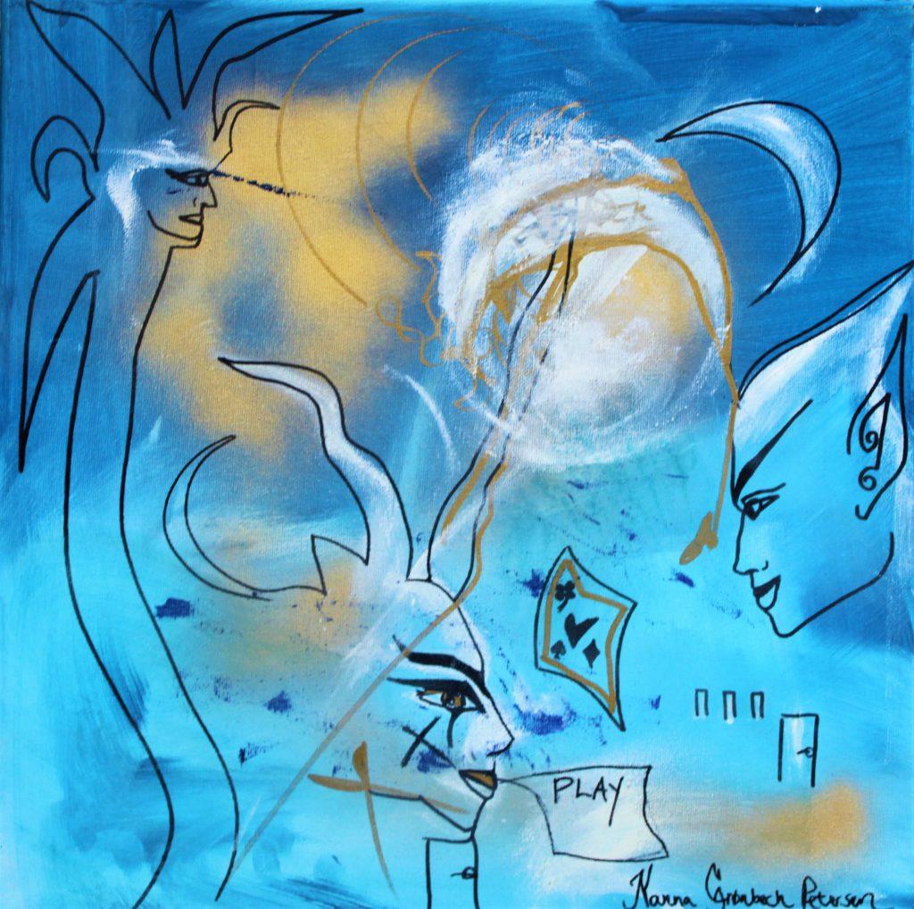 Blue Væsner painting Art